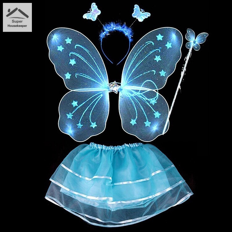 Girls Easter Butterfly Fairy Fancy Dress Costume Wings Wand Headband Set