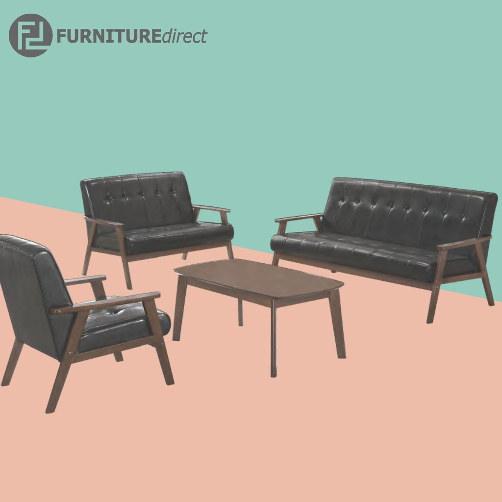 Furniture Direct TRITON 123 seater solid wooden sofa set murah with free coffee table/ sofa kayu/ l shape