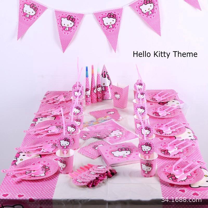 9f7a5f80d Hello Kitty Theme Kids Birthday Party Decoration Set Favor Tableware Decor  Gift   Shopee Malaysia