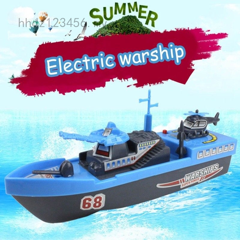 1*Blue Electric Warship Water Bath Toys Baby Ship Boat Educational Toy Latest