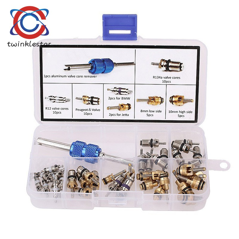 Car Air Conditioning Valve Core A/C R134a Refrigeration Tire Stem Cores  Remover Tool Kit
