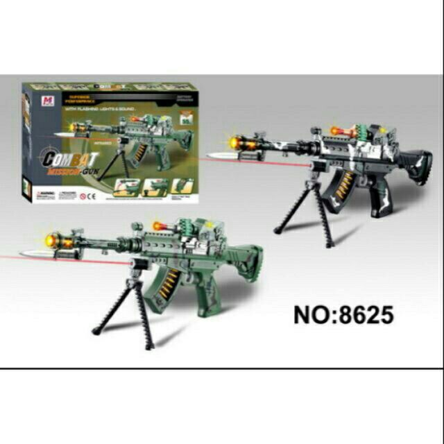 New Combat Mission Gun Toy With Flashing Light Sound For Kids Green Shopee Malaysia