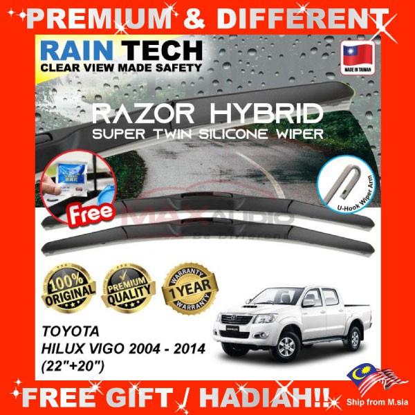 [FREE Gift] TOYOTA HILUX VIGO 2004 - 2014 (22/20) RAIN-TECH RAZOR HYBRID Silicone Aerodynamic Clean N Safety Wiper Blade