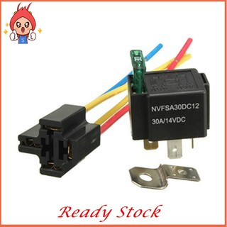 HN✨12V Relay 4 pin with Socket Base/Wires/Fuse Included 30A ... on