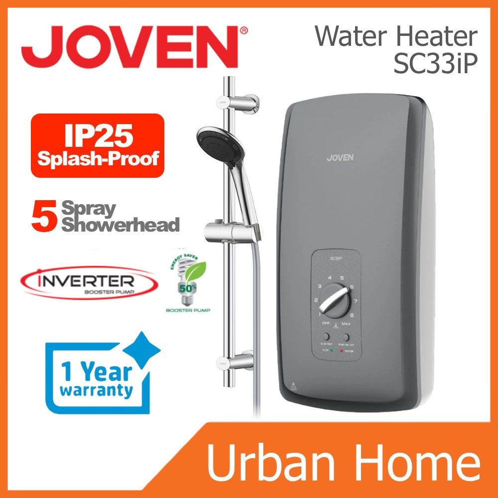 JOVEN Water Heater Instant Hot Shower with Pump (PC838P/838P/SC33iP/SL30iP)