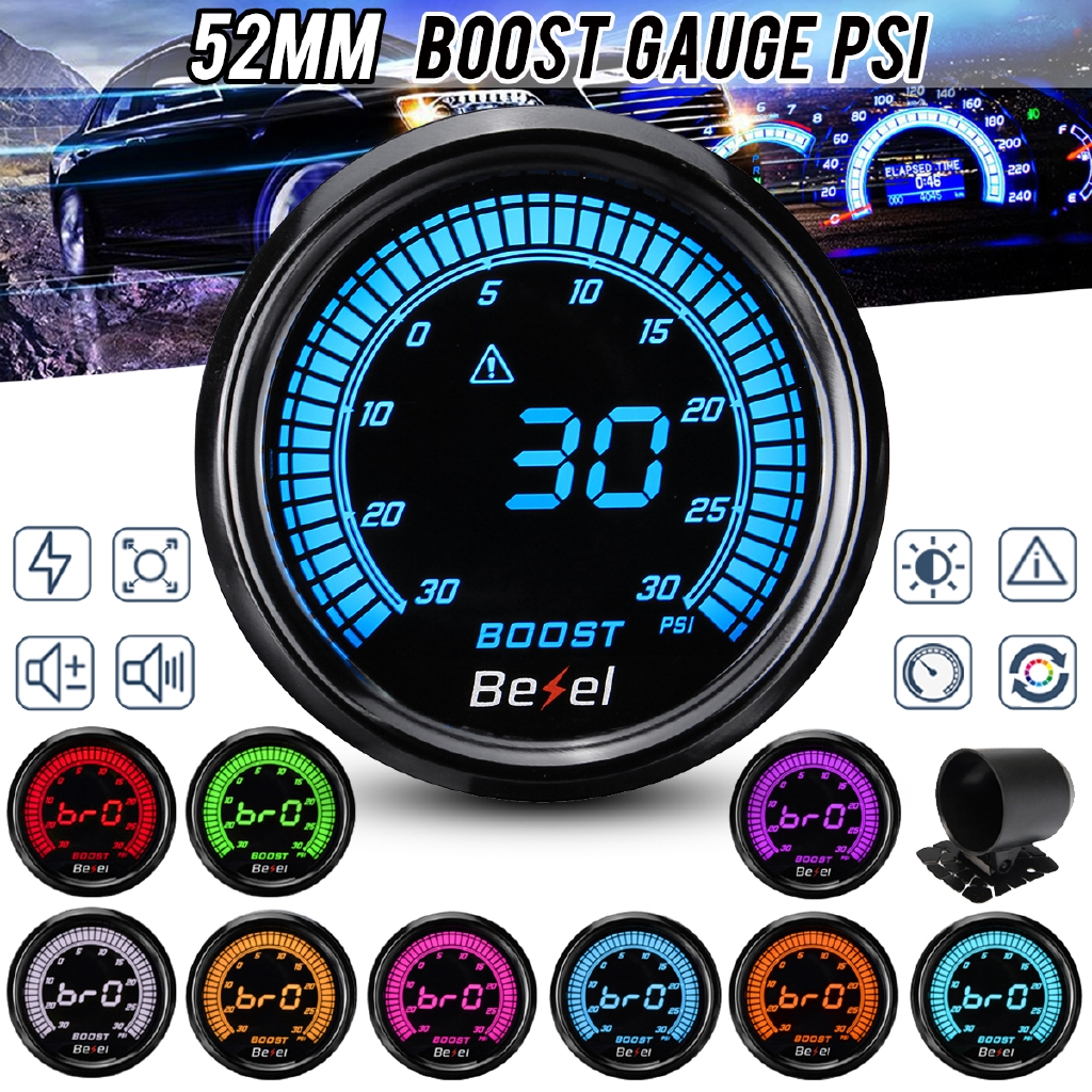 "2.5/"" 60mm Universal Black Face Car Turbo Boost Gauge Meter PSI With Sensor"