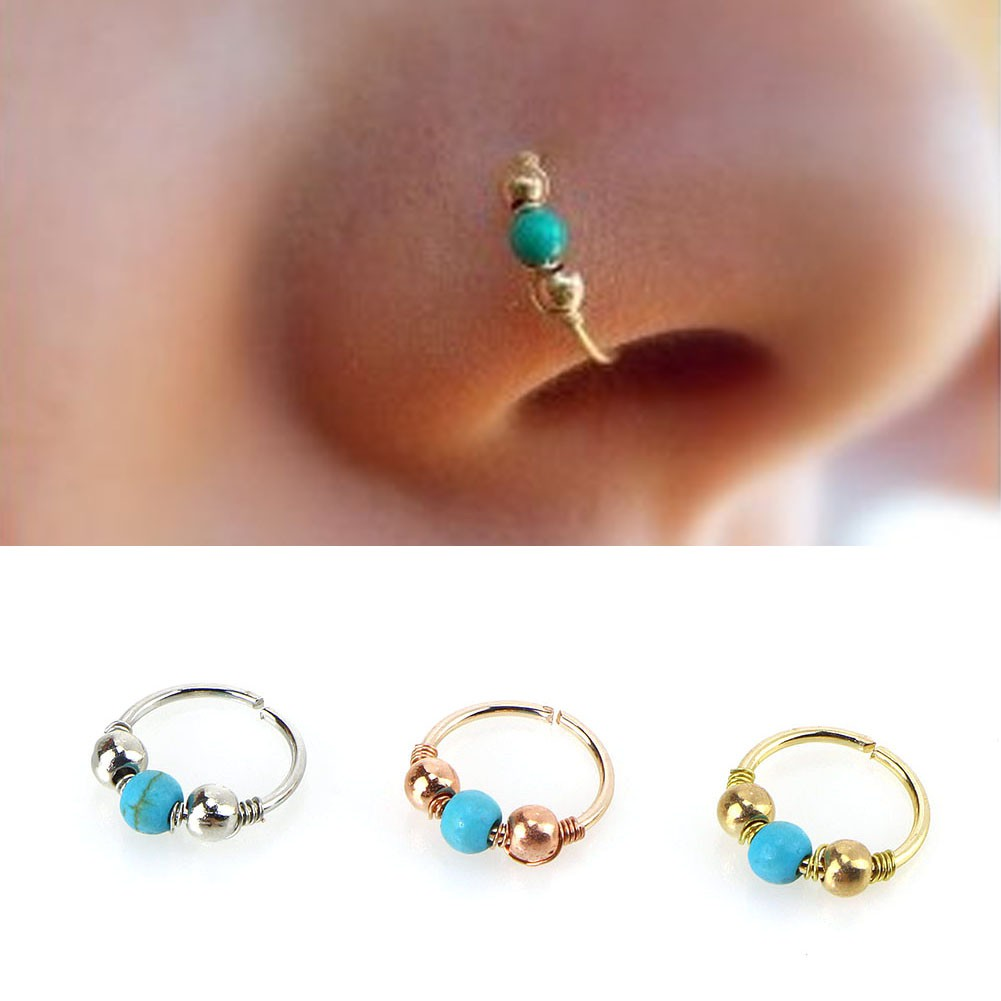 Blue Turquoise Round Beads Nose Ring Stud Earring Nostril Hoop Women Jewelry Shopee Malaysia