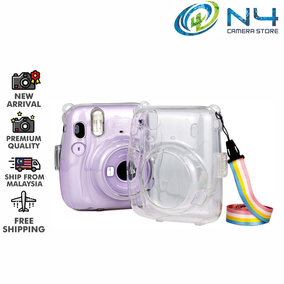 Protective Crystal Shell Case with Strap for FUJIFILM instax Mini 70 Transparent Camera Bags Cases Color : Transparent