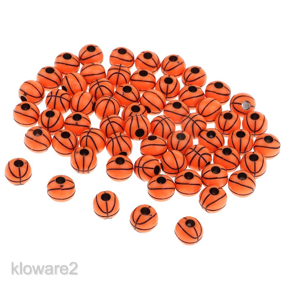 100 Orange Basket Ball Pattern Acrylic Round Beads 12mm Kids Jewelry Finding