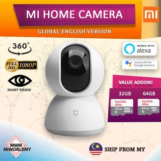 [ENGLISH] Global Version Xiaomi Mijia 360 IP Camera Mi Home CCTV Security  Wifi Cam 1080p Full HD PTZ NAS Google Home