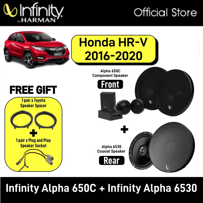 Infinity Alpha 650C 6.5inch 2-Way Component System + Infinity Alpha 6530 6.5 3-Way Speaker Package Honda HRV