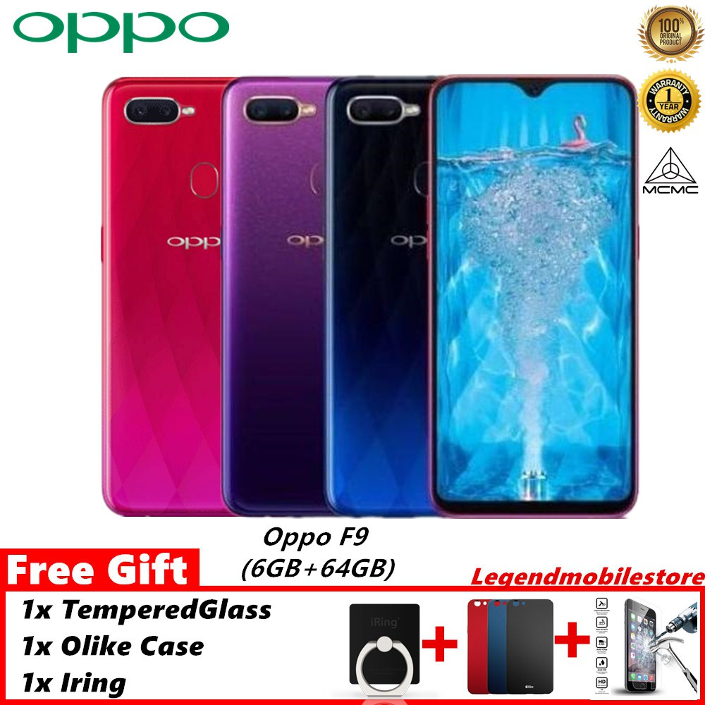100% Original Oppo F9 (6GB+64GB) VOOC Charge ( FREE Gift)-1 Year Warranty