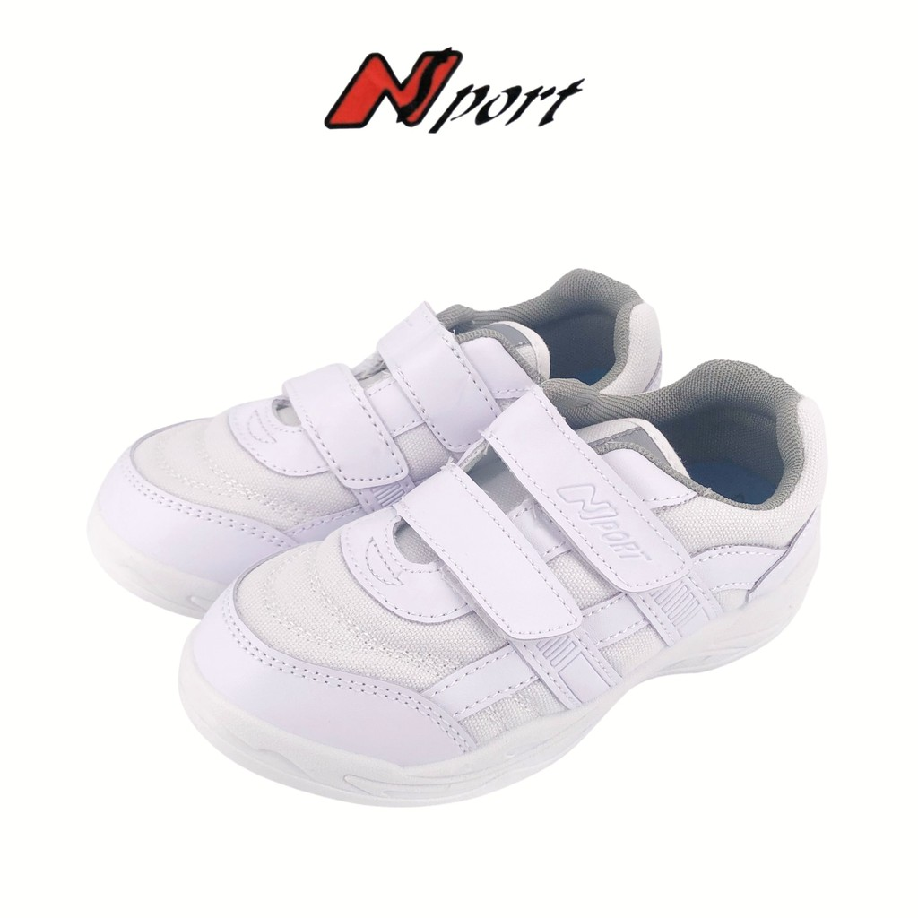 Nsport Kids/Youths/Adults Unisex White School Shoes Velcro Sneakers 359/459/559-3016