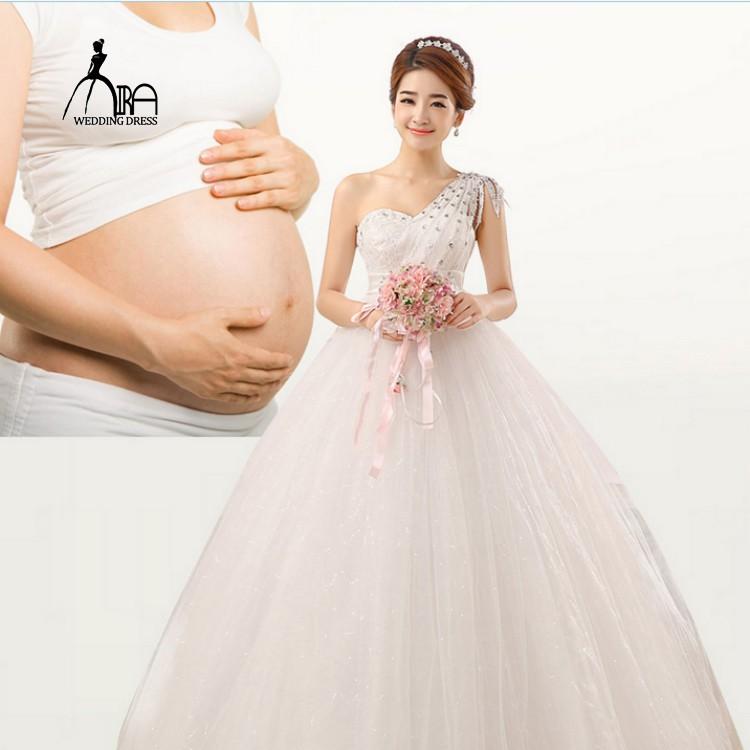 Wedding Dress High Waist Pregnant Women Big Size One Shoulder Lace Up Ball Gown Shopee Malaysia,Summer Wedding Guest Dress