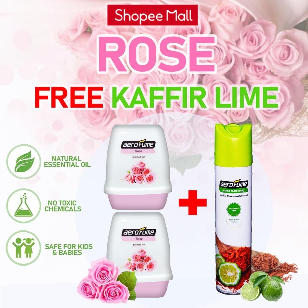Tropical Flora Aroma Spray (1 Pcs) + Rose Scented Gel (2 Pcs) [Bundle] Fragrance