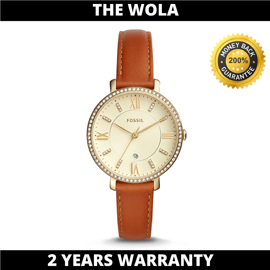 Fossil Women's Jacqueline Three-Hand Date Luggage Leather Watch ES4293