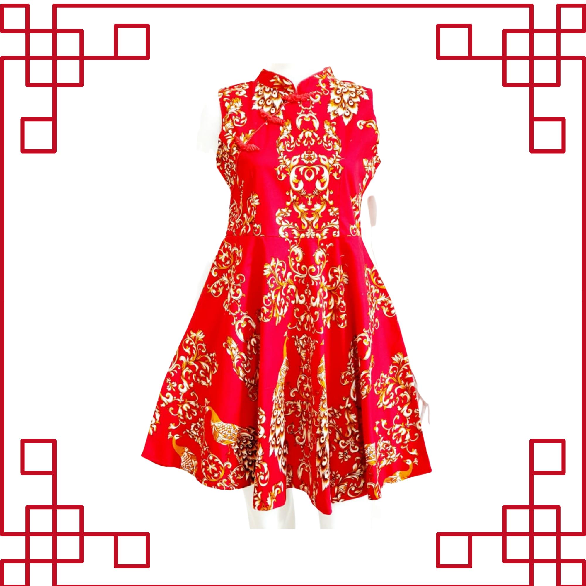 Cheongsam Batik Red Dress Sleeveless 851-A1