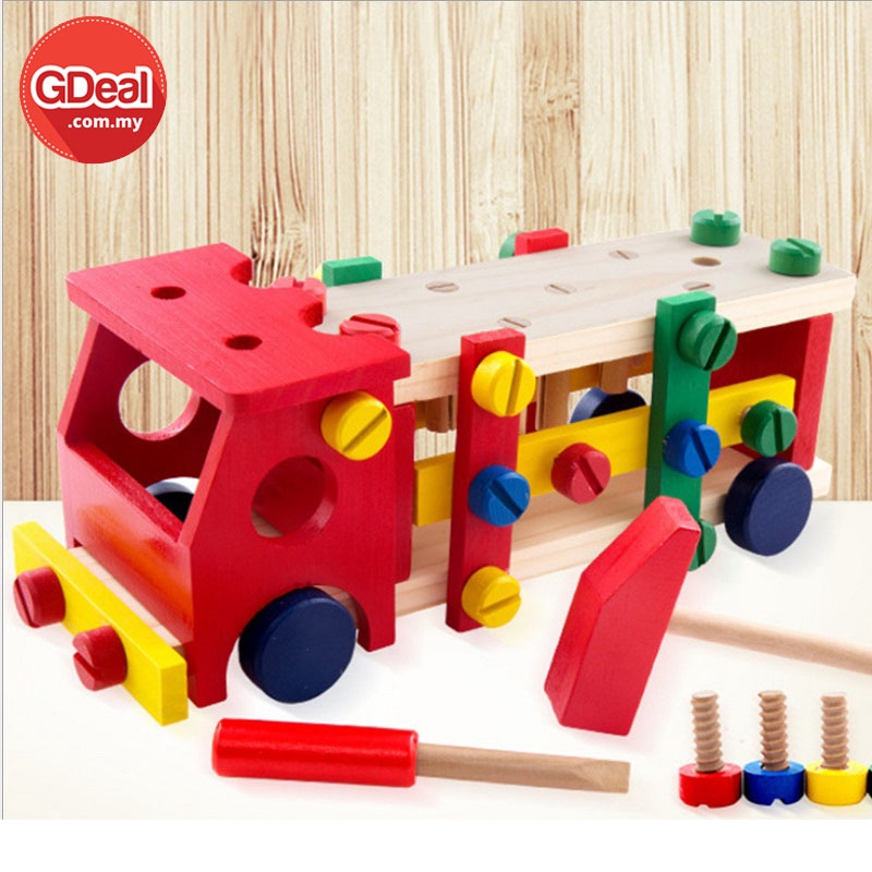 GDeal Reassembly Screw Car Intelligence Wooden Toy Disassemble Table Games Knock On The Ball Screw Assembly