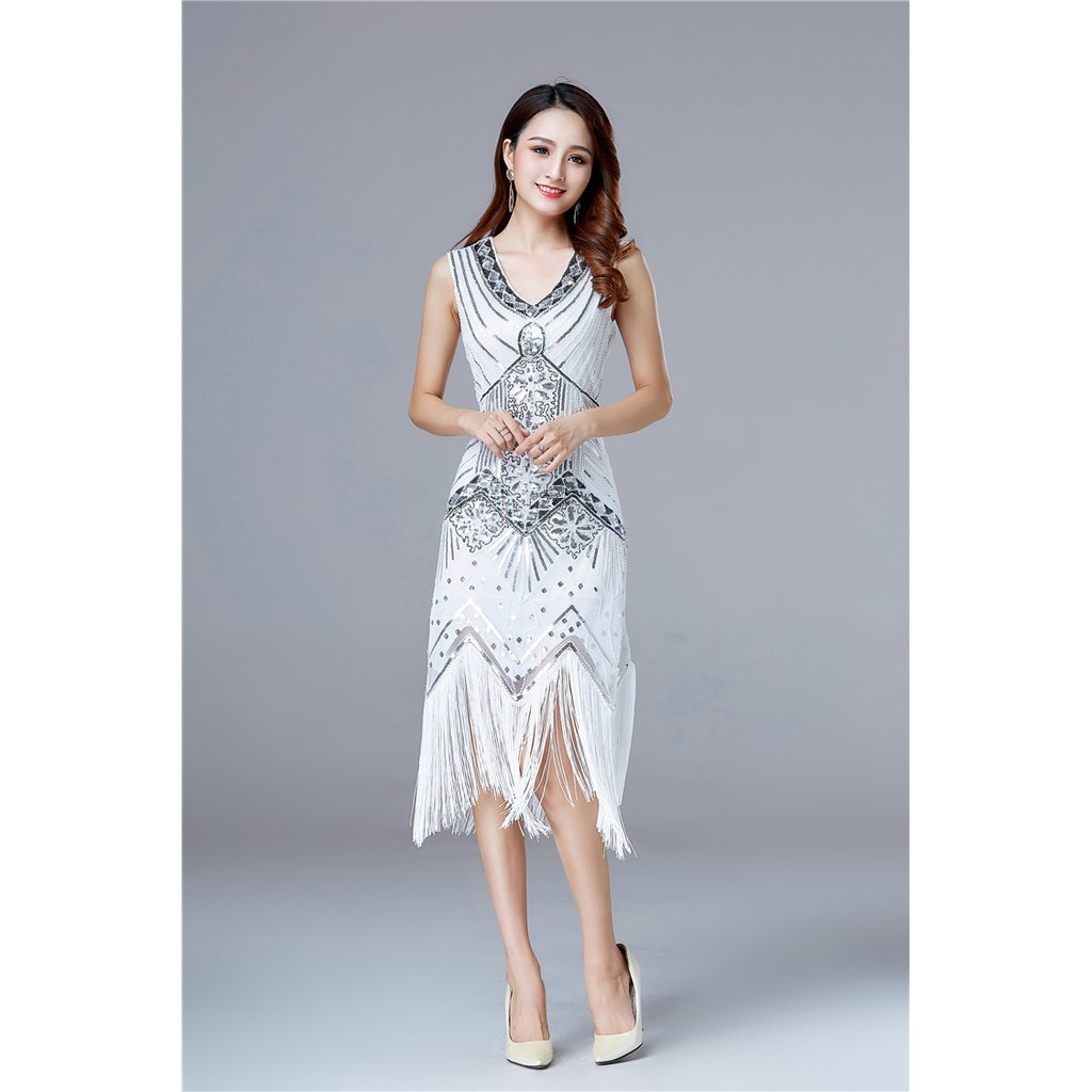 94bb031e75 Vintage 1920s Flapper Great Gatsby Dress Spring Summer Fancy Costumes V-Neck