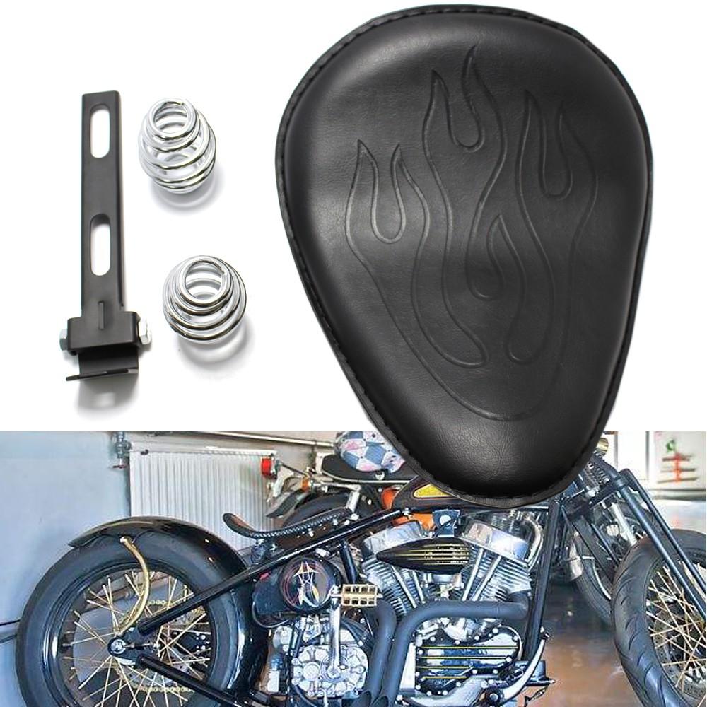 Motorcycle Black Alligator Bobber Solo Slim Seat Large For Honda Kawasaki Custom