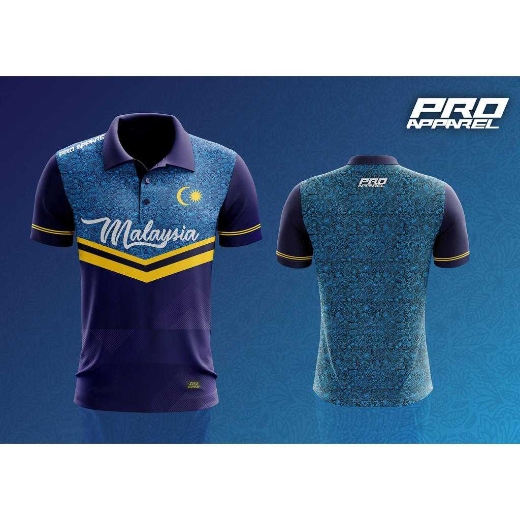 Batik Design Malaysia Sublimation Polo Collar Tshirt