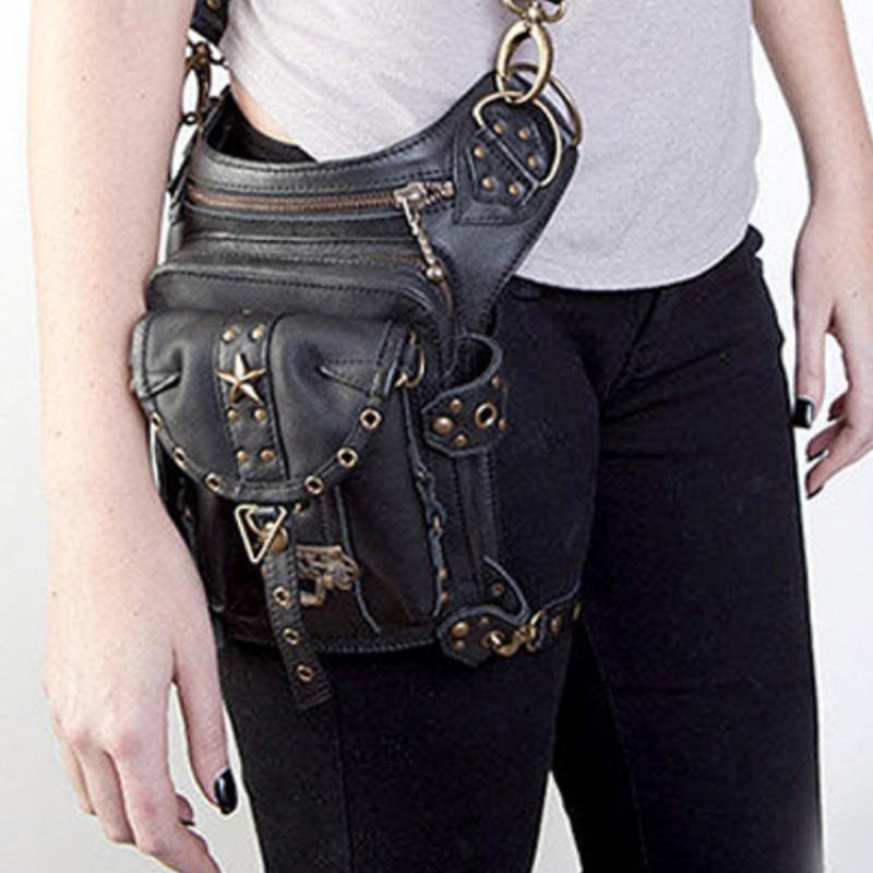 PU Steampunk Retro Motorcycle Lady Bag Gothic Shoulder Waist Bag Leg Thigh Bags