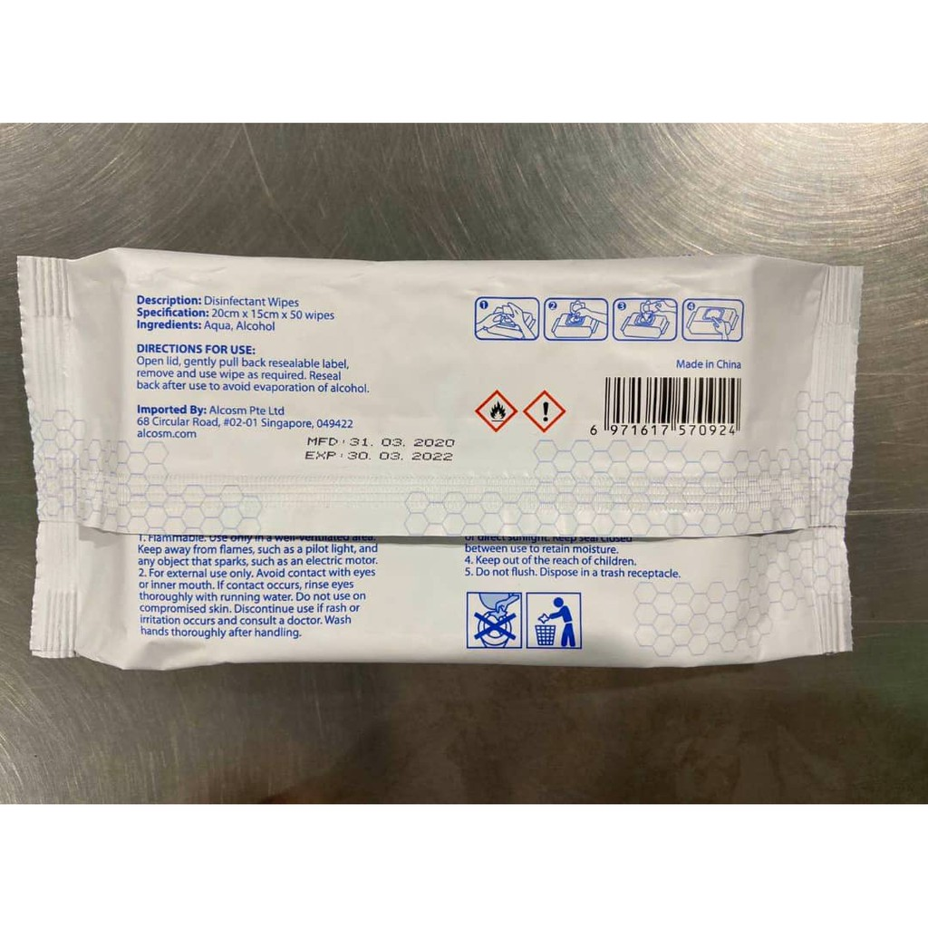 Alcosm - 75% Alcohol Wet Wipes (50 wipes) - Single Pack