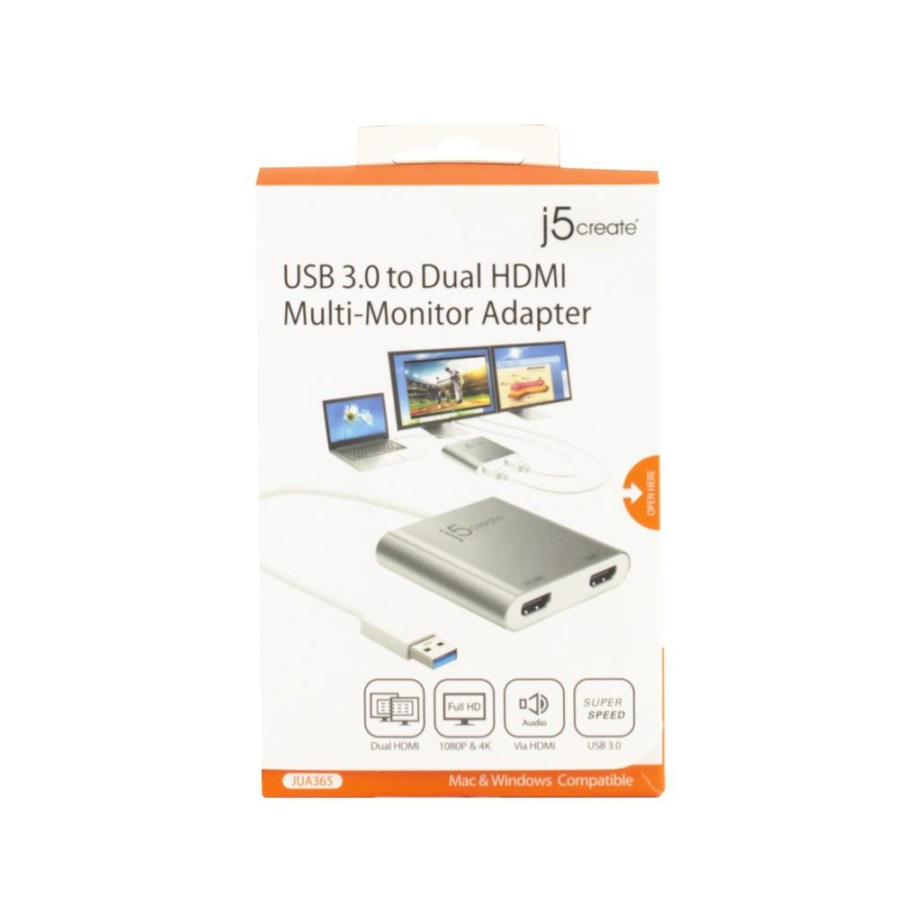J5 CREATE JUA365 USB 3 0 TO DUAL HDMI ADAPTER