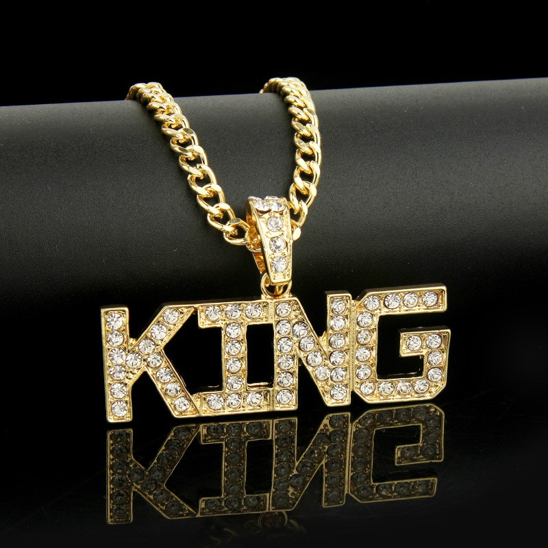 54d82f6a603c0 Men Hip Hop Full King Shape Pendants Necklaces Bling Bling Iced Out Long  Chain
