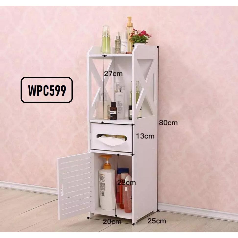[ READY STOCK ]  Waterproof Bathroom Living Toilet Room Wooden Plastic Storage Cabinet Rack Drawer Jualan Murah Storage