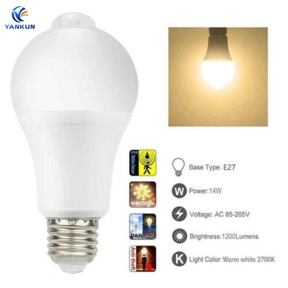 5//7//9//12W E27 LED Radar Light Bulb Motion Sensor Bulb White Light Auto OFF//ON