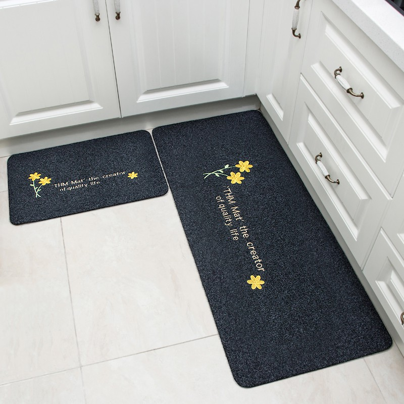 2pcs Set Yellow Flower Anti Slip Kitchen Mat Absorption Carpet Long Bathroom Rug Shopee Malaysia