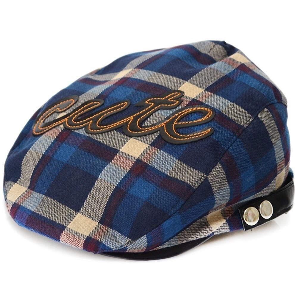 614829c3b Kids Baby Hats Beret Check Cabbie Golf Pageboy Hat