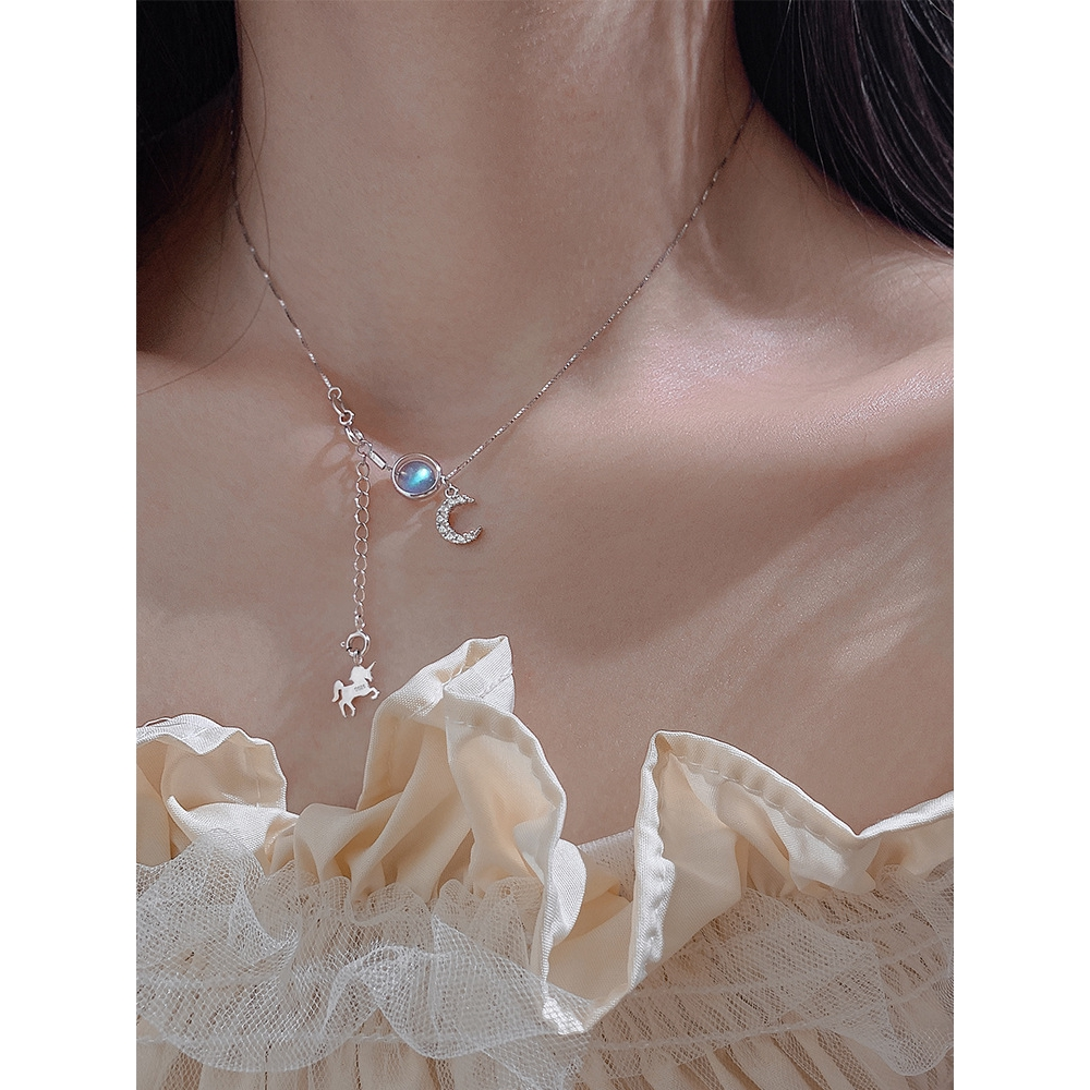 Ocean Fashion Elegant crystal silver clavicle 925 sterling silver necklace