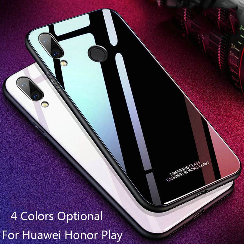 finest selection 45ddd 81c31 For Huawei Honor Play Tempered Glass+TPU Backcover Protective Phone Case  Cover