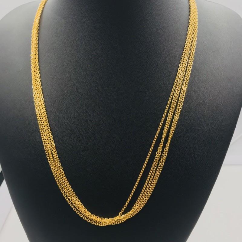 Rantai Leher Sauh Padu Panjang 52cm/Gold Necklace 52cm in Length (Emas 916)