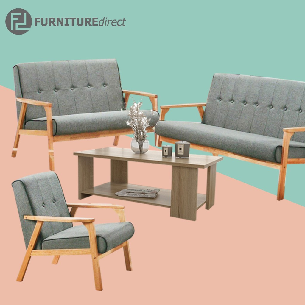 Furniture Direct solid wood sofa set with free coffee table/ sofa murah