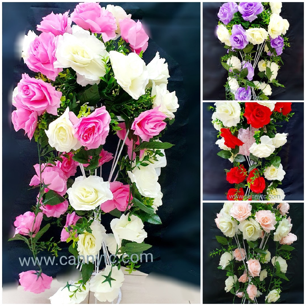 Bunga Jurai Rose English Style dengan Daun Panjang 60cm Pelbagai Warna / Dropping Flower With Various Colour