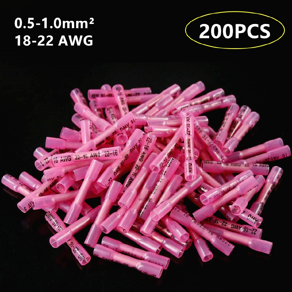 200Pcs 22-18AWG Wire Butt Connectors Heat Shrink Waterproof Splice Terminals Red