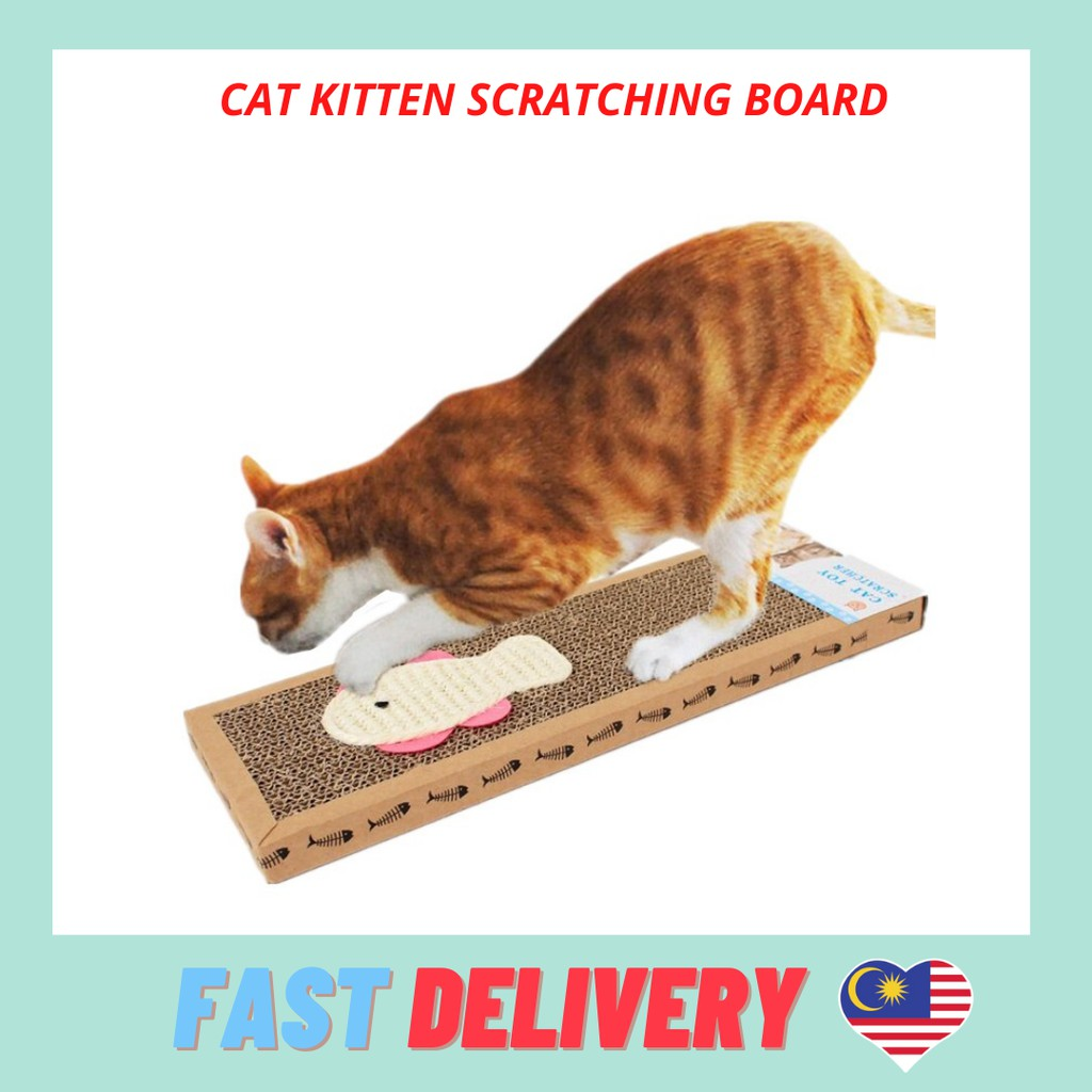 READY STOCK Cat Kitten Scratching Board Toy Fun Scratcher Rectangle Fish And Mouse Logo