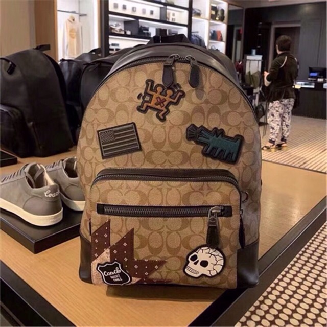 9cdd71092533b Coach Keith Haring West Backpack In Signature Canvas With Patches ...