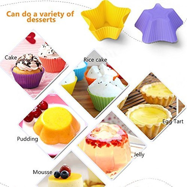 10pcs Silicone Star Cake Pudding Chocolate Mold Cup Muffin Baking Molds M k7ds