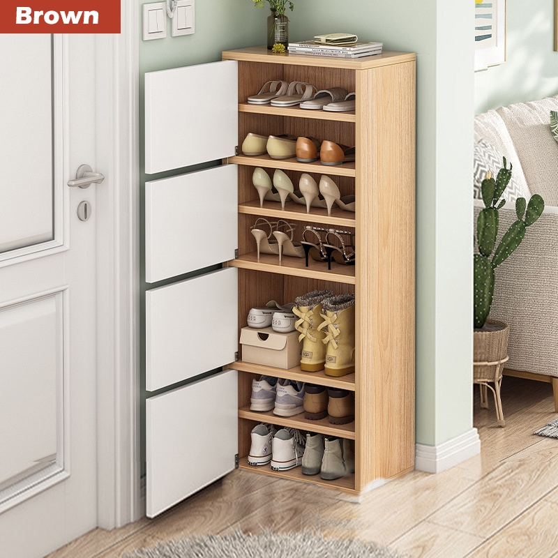 GDeal Simple Wooden Multi Layer Shoes Cabinet Home Sturdy Shoe Storage Rack With Door