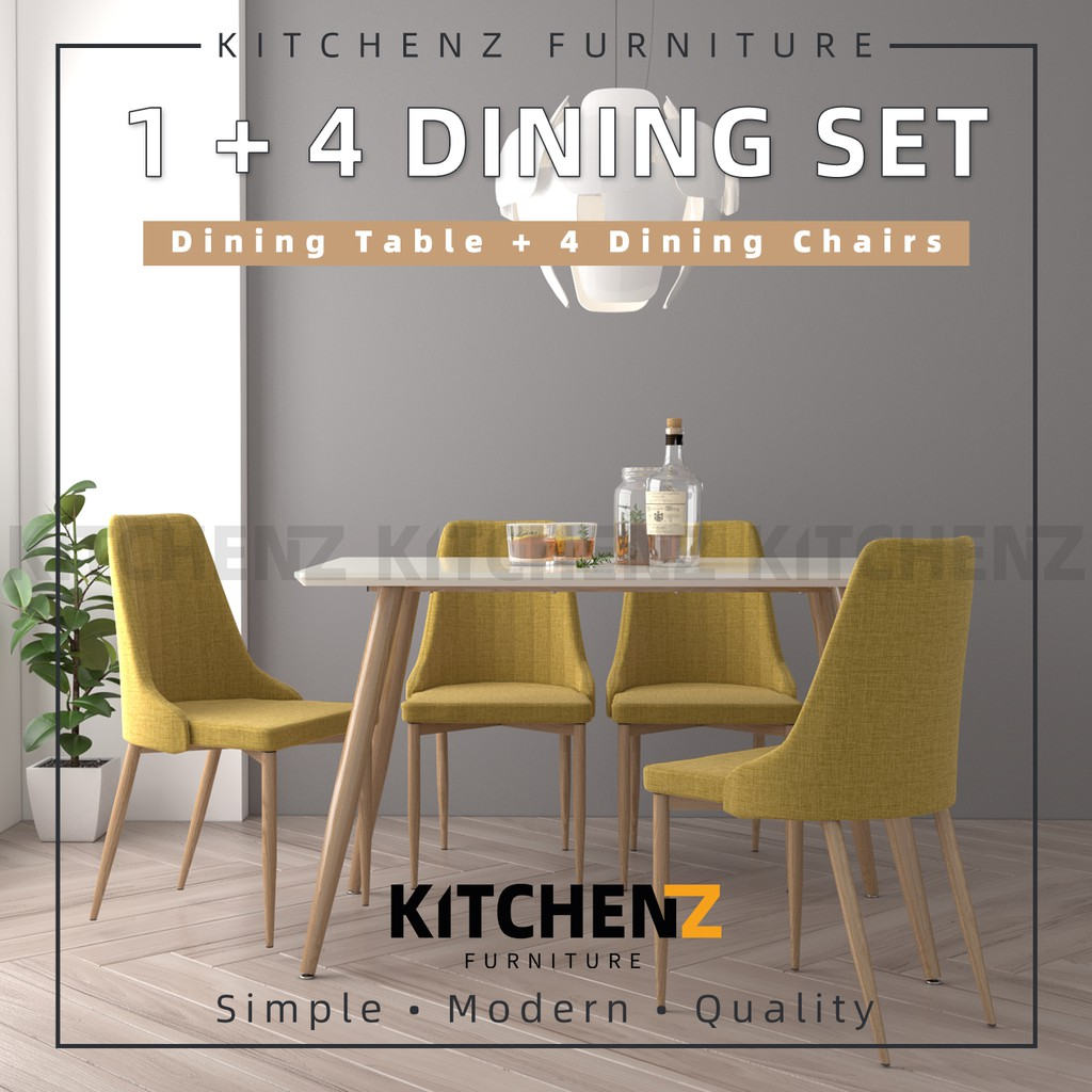 KitchenZ Modern Dining Table Set 1 Table + 4 Yellow / Blue Dining Chairs - HMZ-FN-DT-JT01(12070)-WT