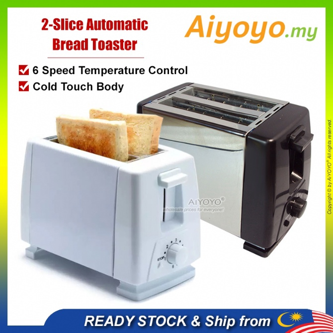 2 Slice Automatic Bread Toaster Pop Up Toaster Double Sided Electric Bread Toaster Toast Oven Baking Kitchen Breakfast M
