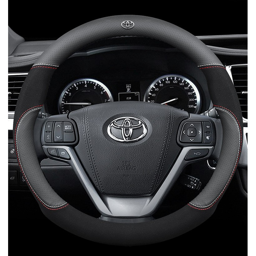Fits Toyota Corolla Hilux Fortuner 05 2013 Key Remote Cover Leather Thread Black