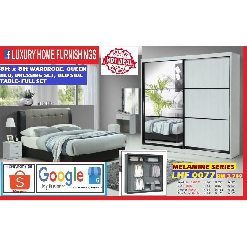 BED ROOM SET, 8ft x 8ft WARDROBE FULL SET, MELAMINE SERIES, SUPER SAVER EDITION