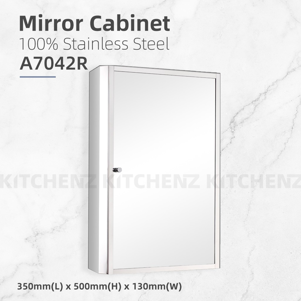 Homez Bathroom Mirror Cabinet A7042R 100% Stainless Steel -L350 x W130 x H500mm