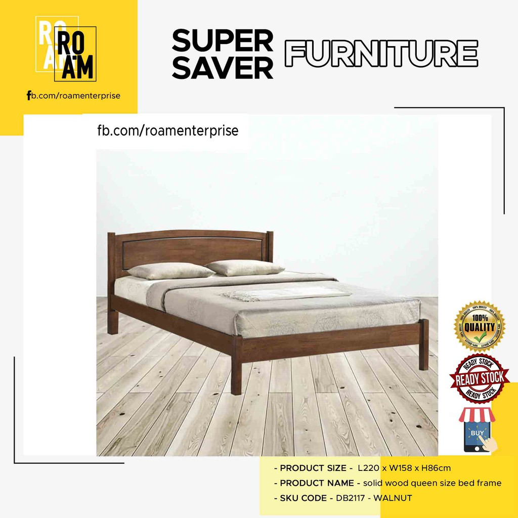 THOMAS DB2117 SOLID WOOD QUEEN SIZE BED FRAME 2 COLOR -WALNUT or WHITE