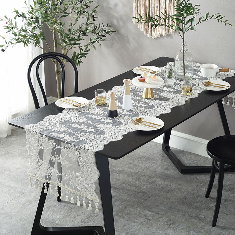 Lace Fabric Table Table Runner Coffee Table Runner European Minimalist White Table Runner Pastoral Korean Table Runner Shopee Malaysia